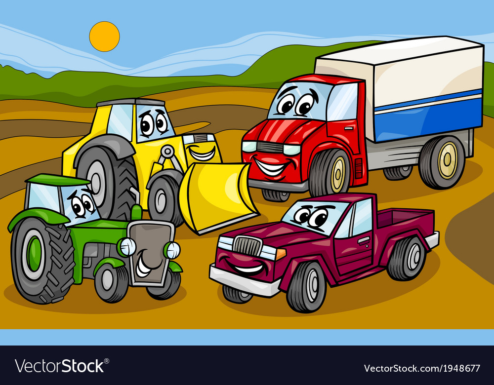 Vehicles machines group cartoon vector | Price: 1 Credit (USD $1)