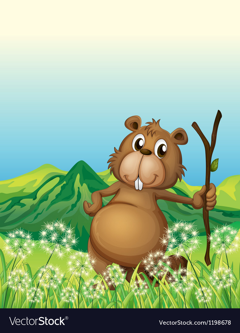 A beaver near the grass vector | Price: 1 Credit (USD $1)