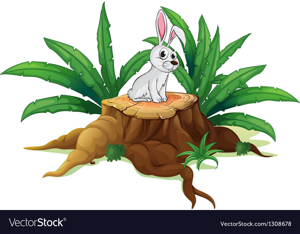 A bunny above a trunk vector | Price: 1 Credit (USD $1)
