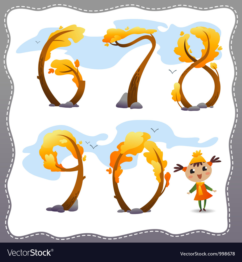 Autumn tree number vector | Price: 1 Credit (USD $1)