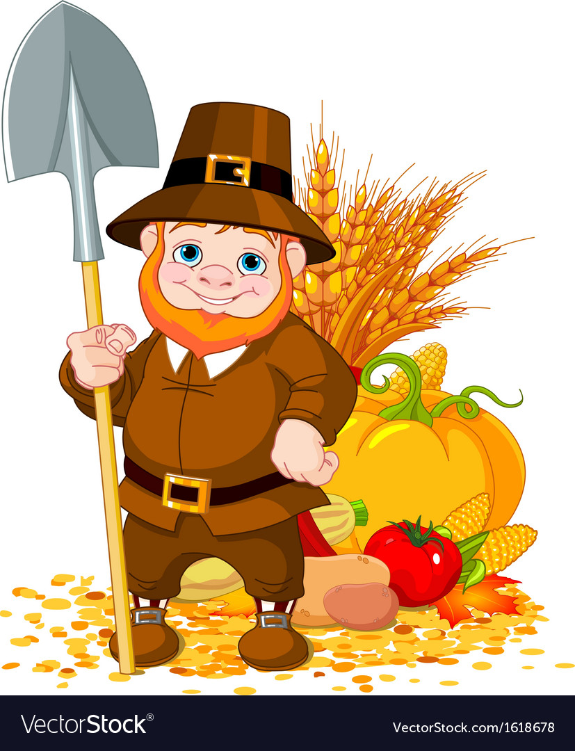Cute pilgrim with spade vector | Price: 1 Credit (USD $1)
