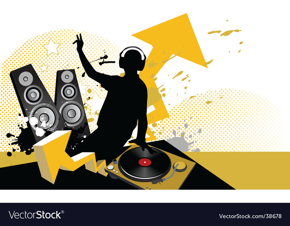 Dj mixing music concept vector | Price: 1 Credit (USD $1)