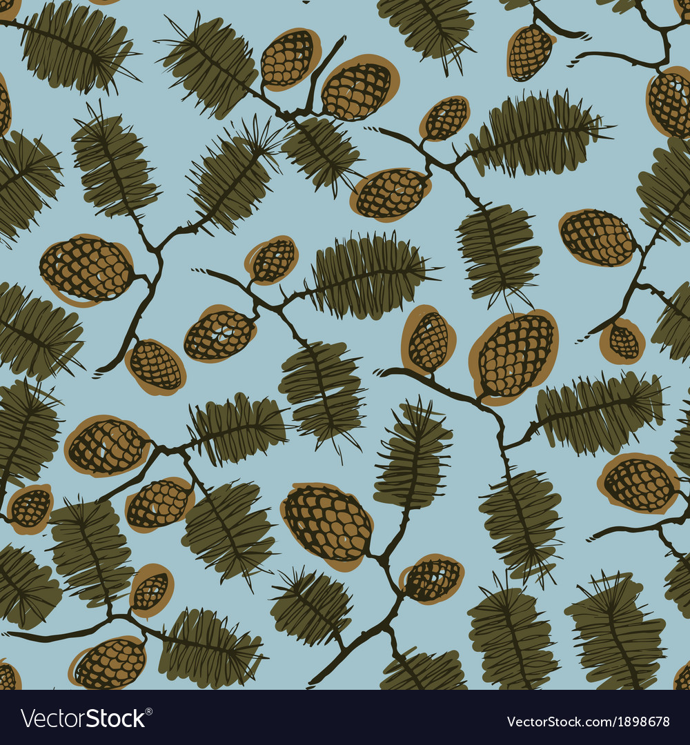 Pattern with fir cone and twig vector | Price: 1 Credit (USD $1)