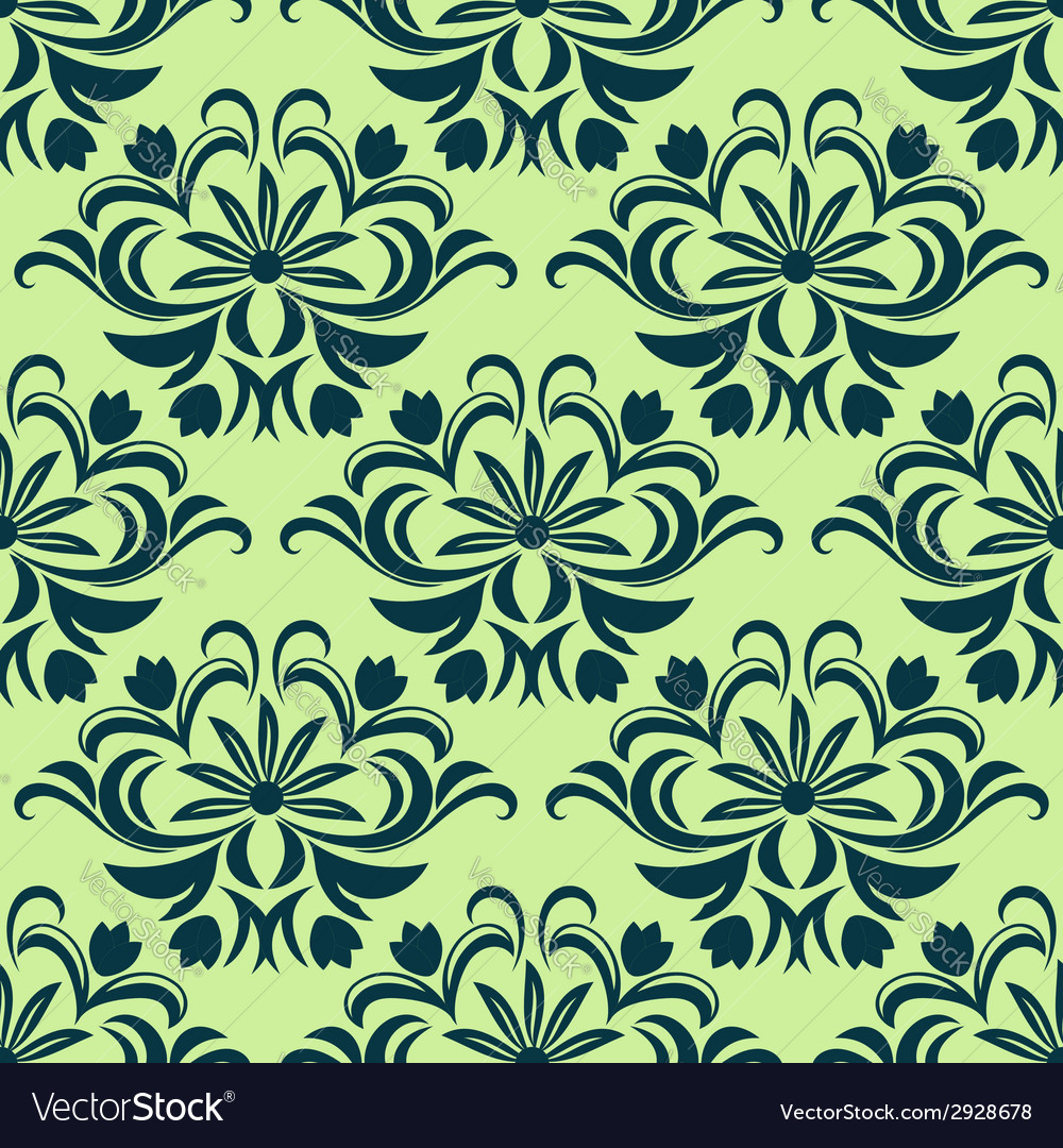Retro light green floral seamless pattern vector | Price: 1 Credit (USD $1)