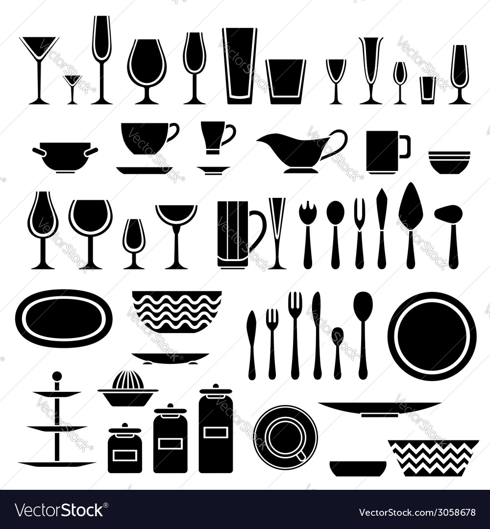 Set of silhouettes of cookware and kitchen vector | Price: 1 Credit (USD $1)