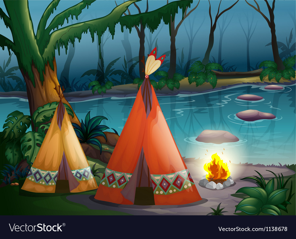 Traditional indian tents in the woods vector