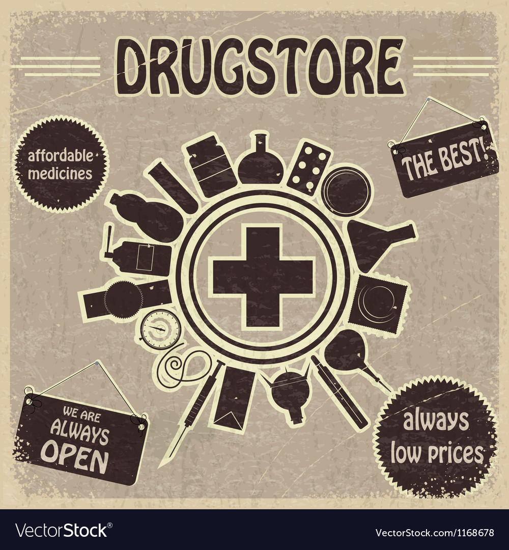 Vintage sign for the drugstores vector | Price: 1 Credit (USD $1)