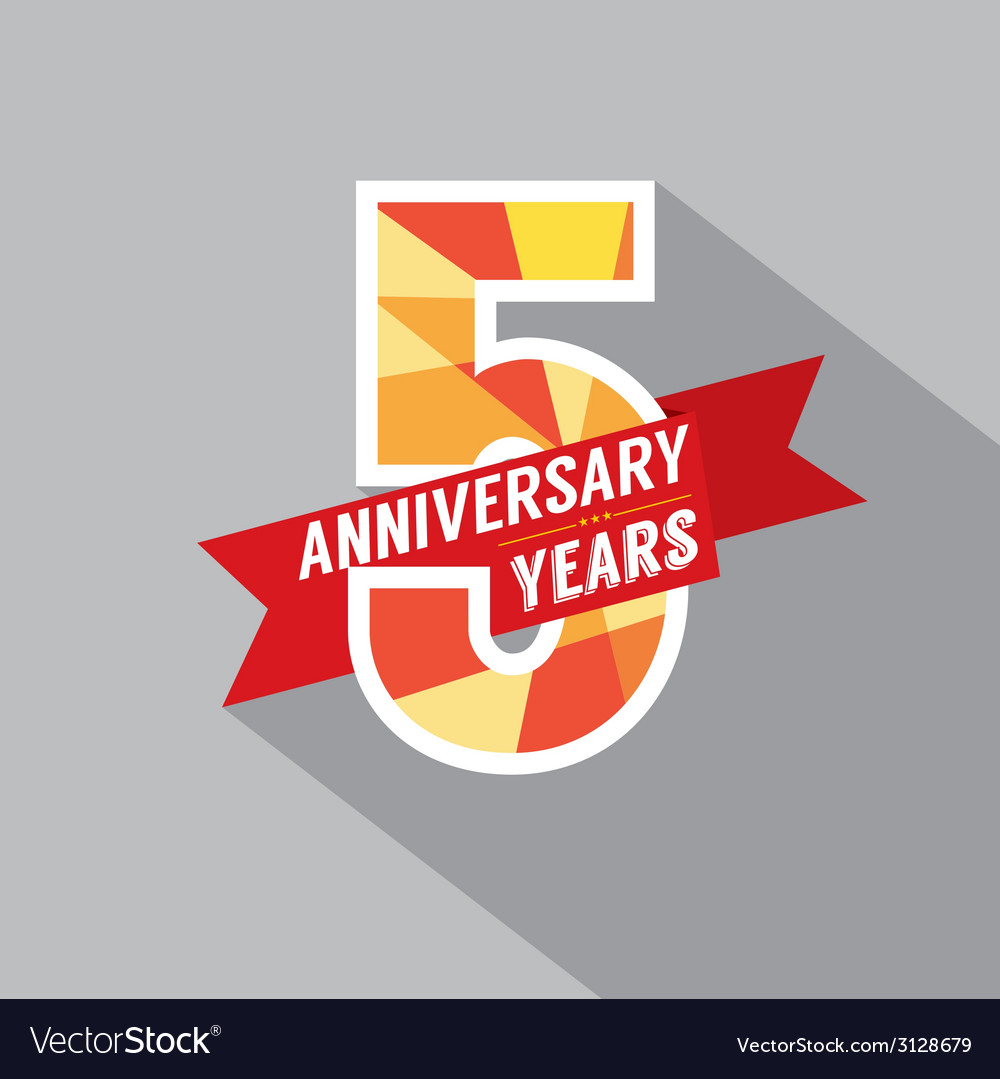 5th years anniversary celebration design vector | Price: 1 Credit (USD $1)