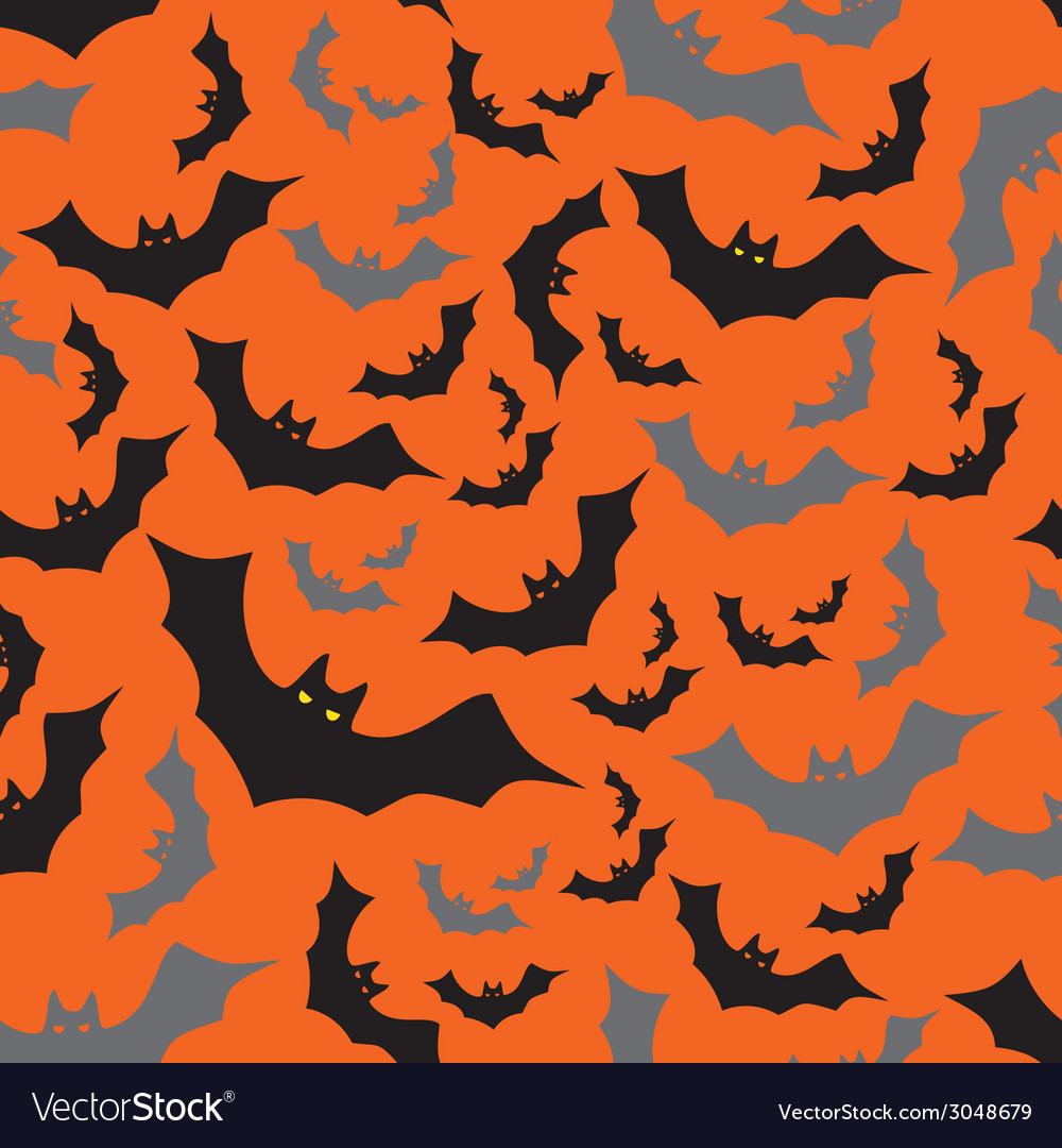 Bat seamless dark and orange autumn halloween vector | Price: 1 Credit (USD $1)