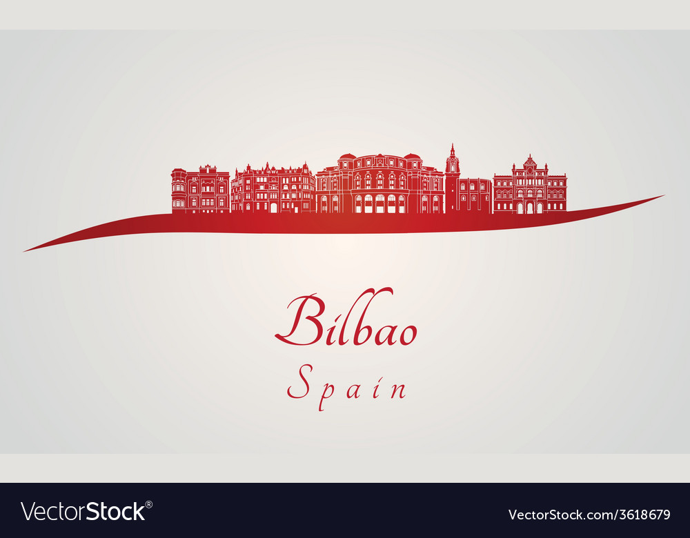 Bilbao skyline in red vector   Price: 1 Credit (USD $1)
