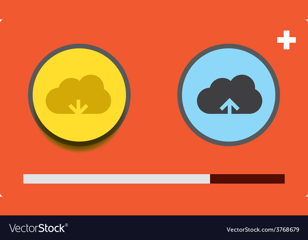 Cloud download and upload 26 vector | Price: 1 Credit (USD $1)