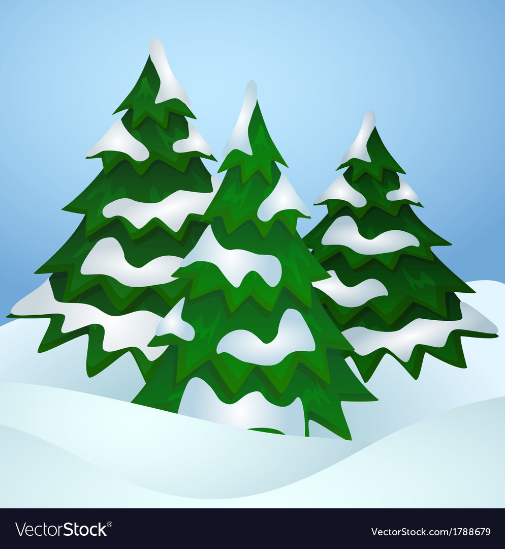 Pine trees covered with snow vector | Price: 1 Credit (USD $1)