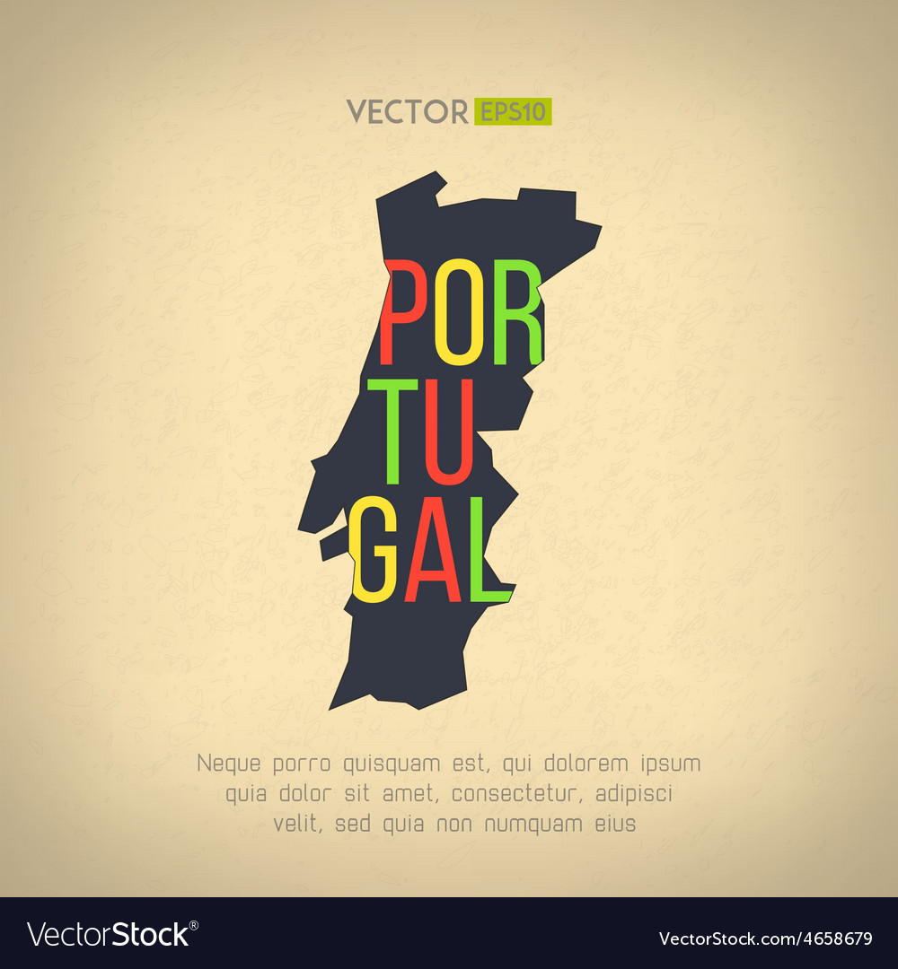 Portugal map in vintage design portuguese vector | Price: 1 Credit (USD $1)