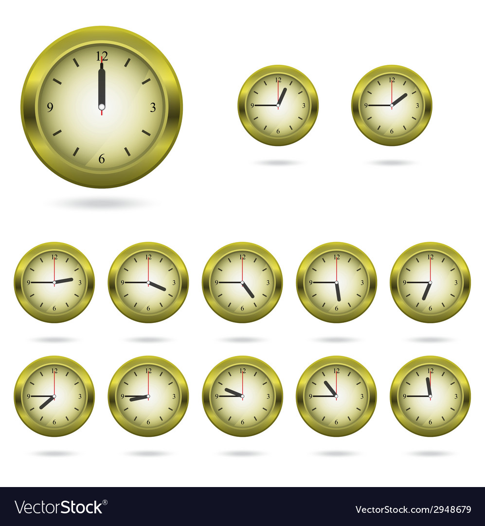 Set of colorful clock icon vector | Price: 1 Credit (USD $1)