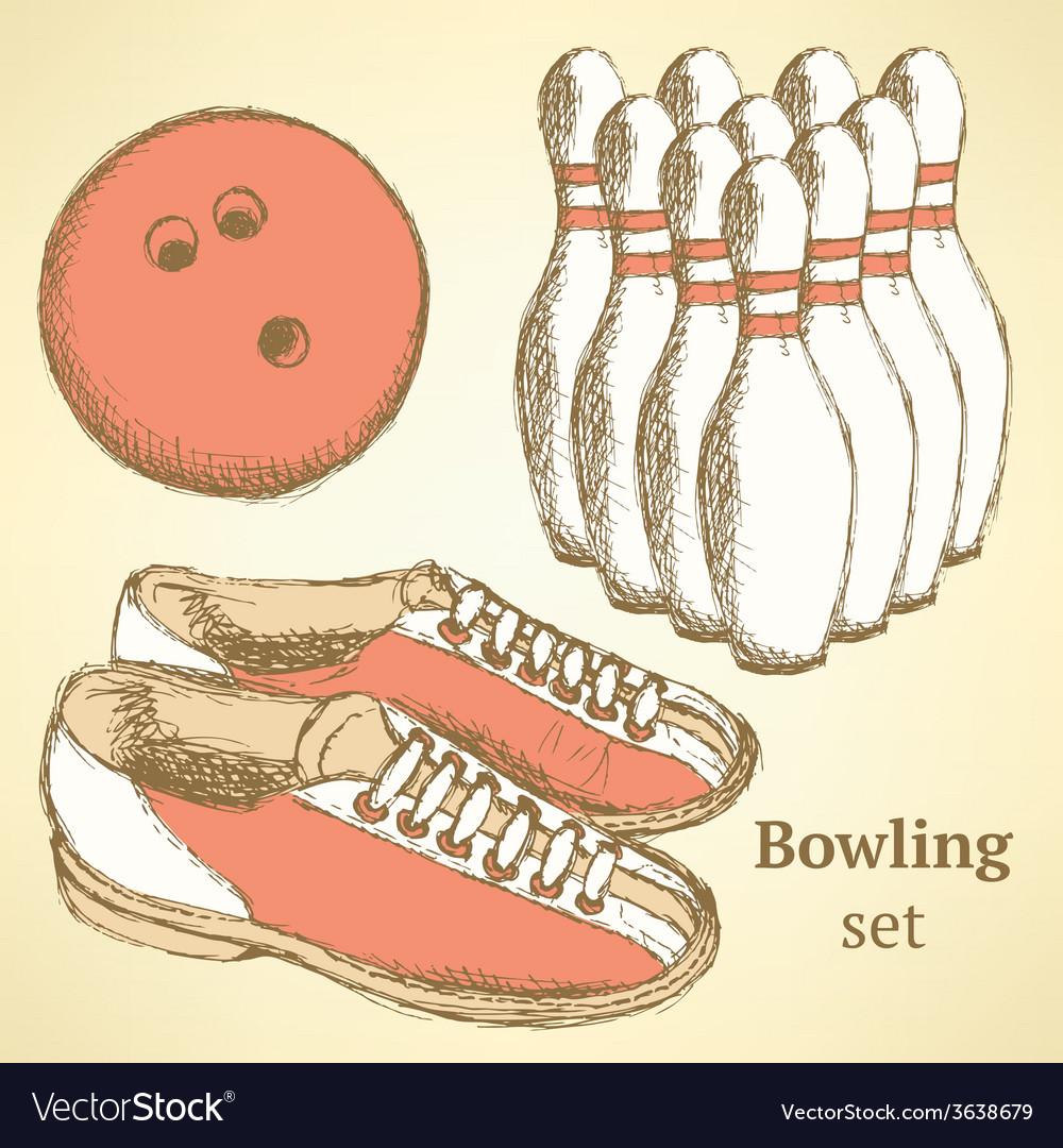 Sketch bowling set in vintage style vector | Price: 1 Credit (USD $1)