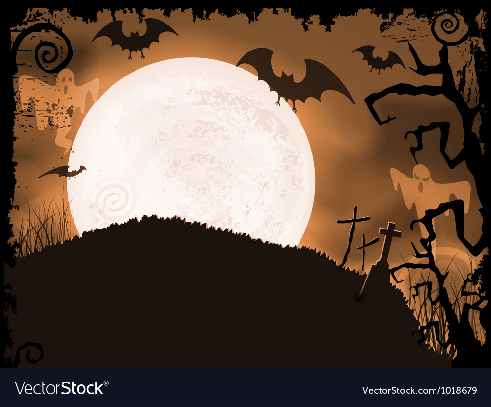 Spooky orange halloween night vector | Price: 1 Credit (USD $1)