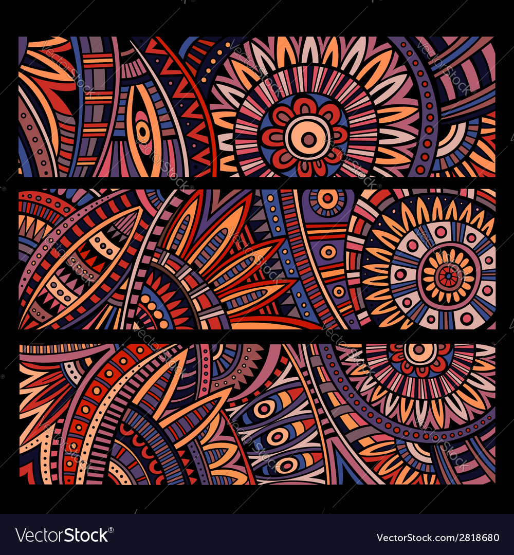Abstract ethnic pattern cards set vector | Price: 1 Credit (USD $1)