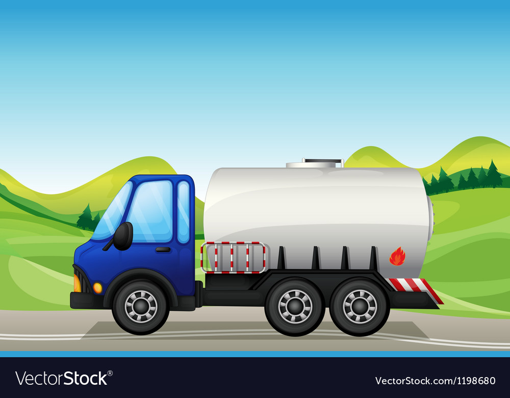 An oil tanker near the hills vector | Price: 1 Credit (USD $1)