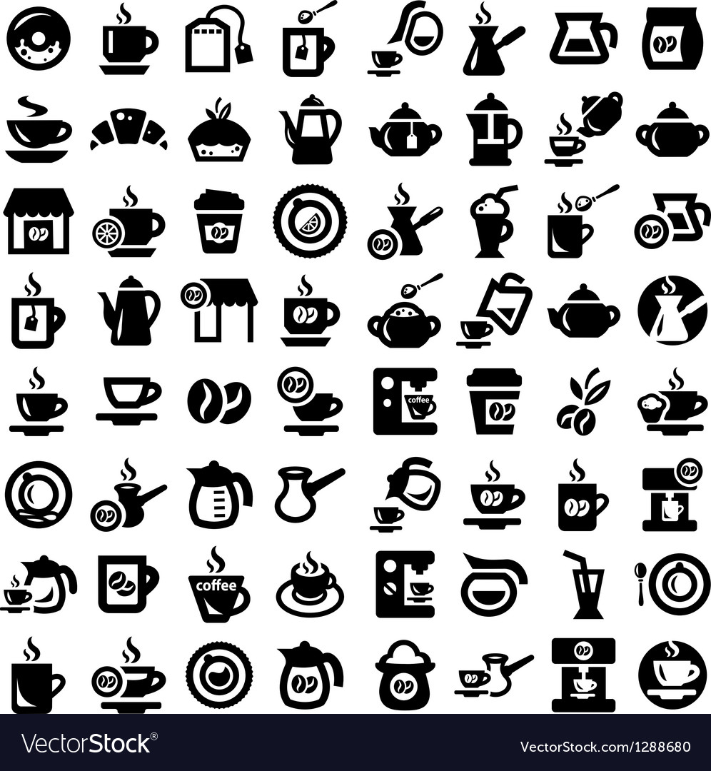 Big coffee and tea icons set vector | Price: 1 Credit (USD $1)