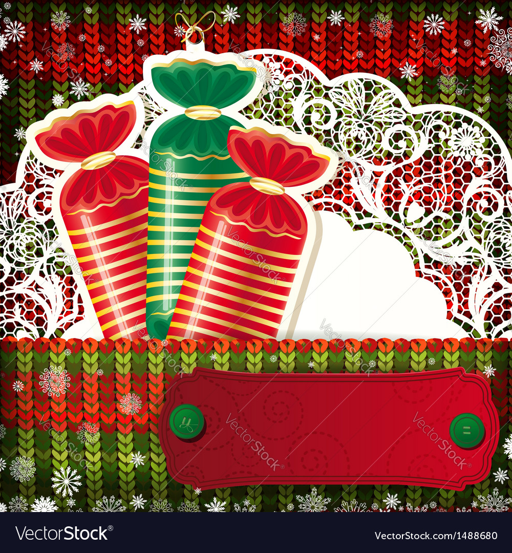 Christmas decorations on handmade knitted vector | Price: 1 Credit (USD $1)