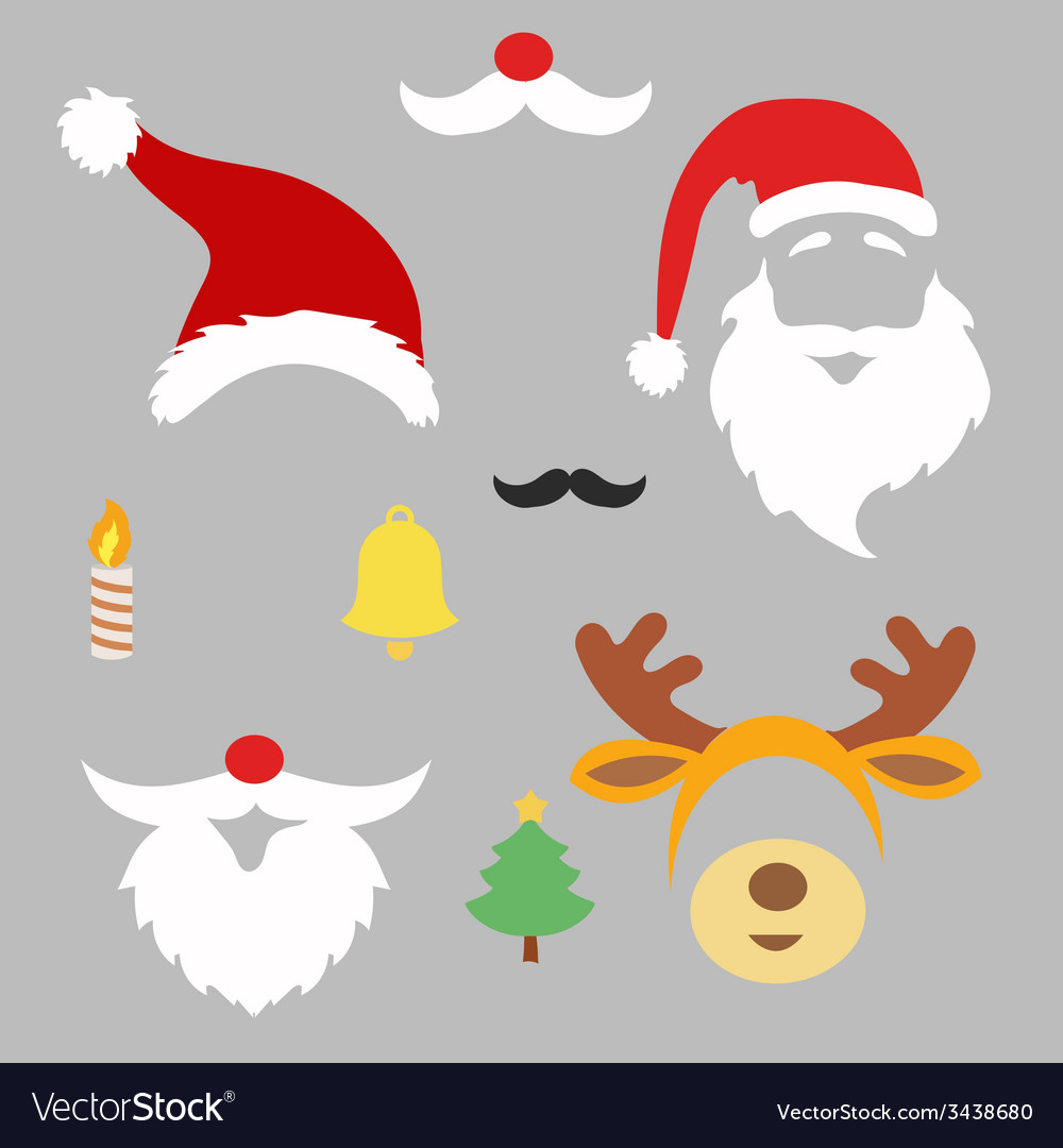 Christmas photo booth and scrapbooking set santa vector   Price: 1 Credit (USD $1)