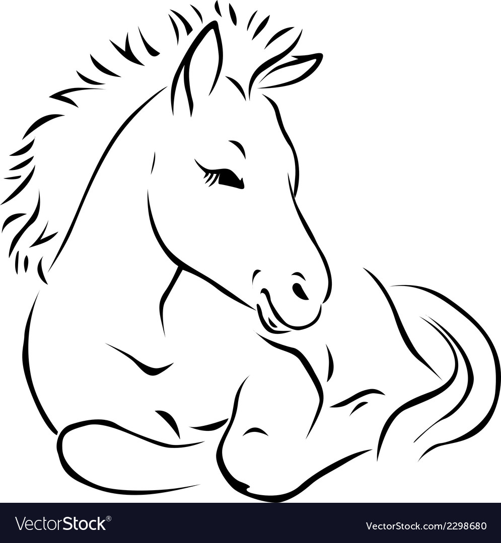Foal - black outline vector | Price: 1 Credit (USD $1)