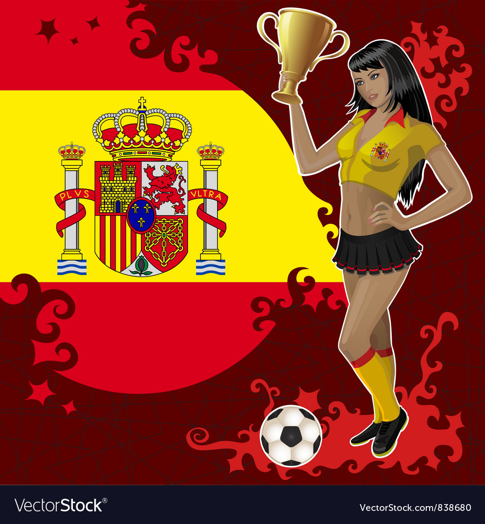 Football poster with girl and spanish flag vector | Price: 3 Credit (USD $3)