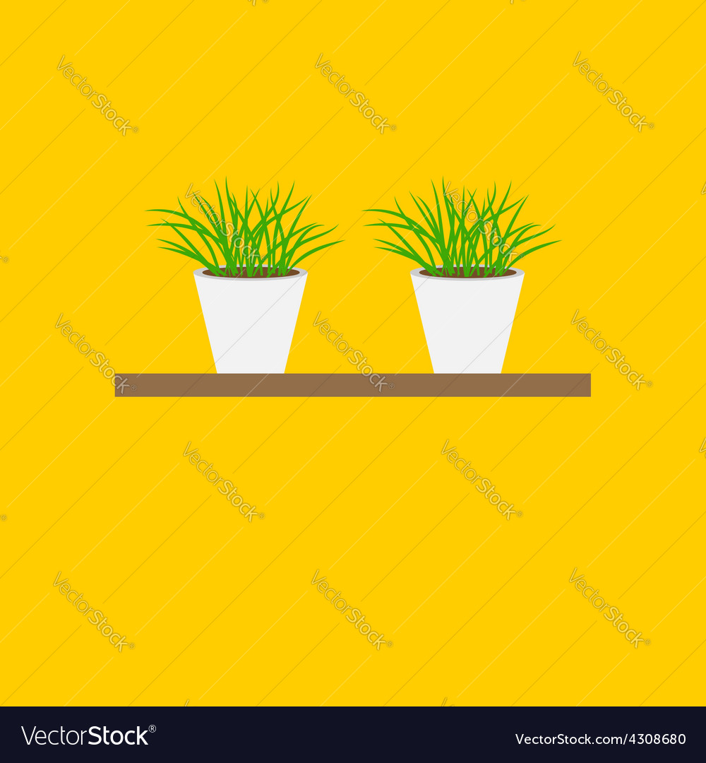 Grass in flower pot on shelf growing icon set vector | Price: 1 Credit (USD $1)