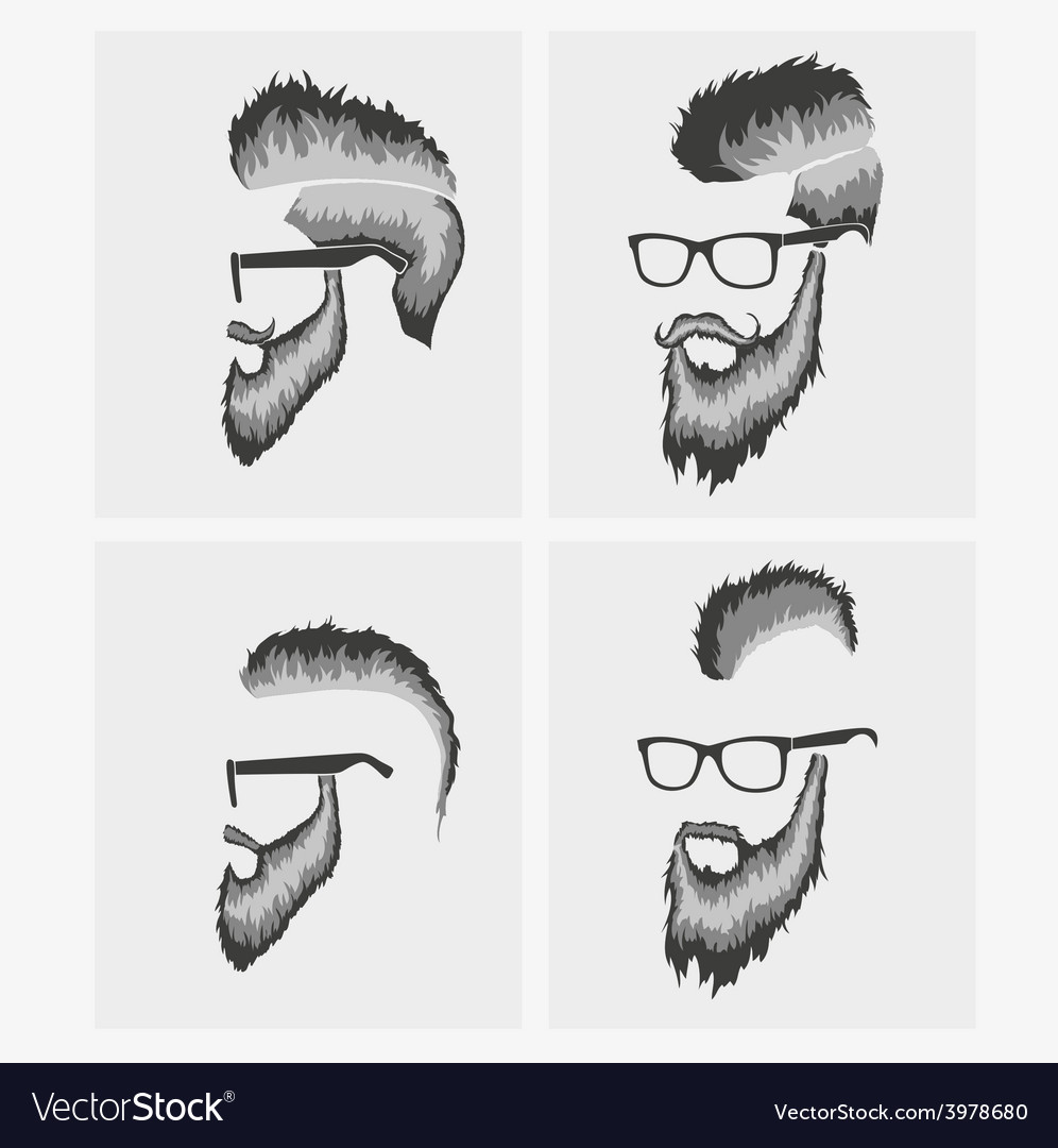 Hairstyles with a beard and mustache wearing vector | Price: 1 Credit (USD $1)