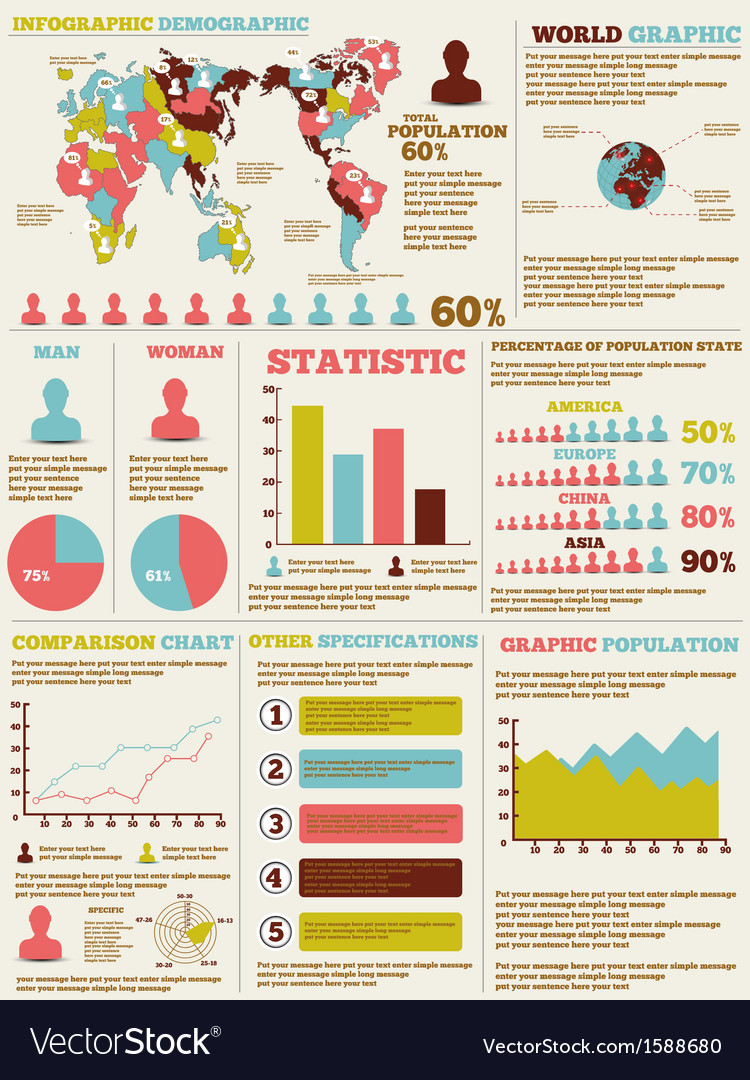 Infographic demographic modern new style vector | Price: 1 Credit (USD $1)