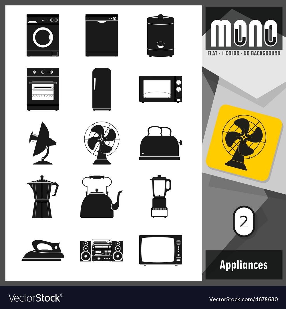 Mono icons appliances 2 vector | Price: 1 Credit (USD $1)