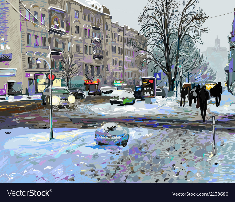 Painting of winter kiev city landscape vector | Price: 1 Credit (USD $1)
