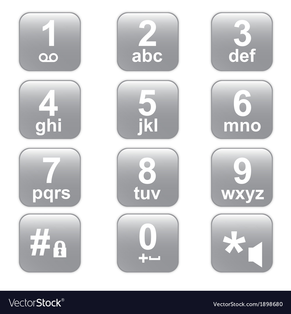 Phone keypad gray telephone buttons vector | Price: 1 Credit (USD $1)