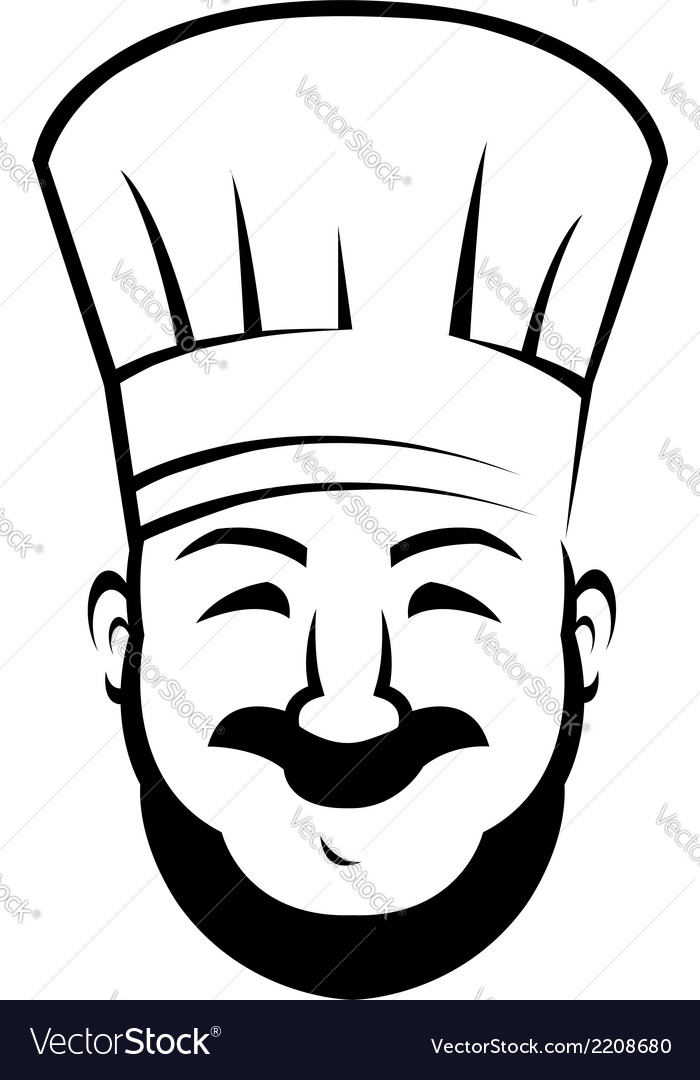Smiling chef with a beard and moustache vector | Price: 1 Credit (USD $1)