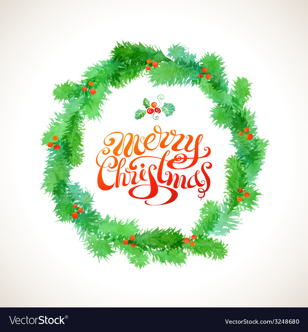 Watercolor christmas wreath vector | Price: 1 Credit (USD $1)
