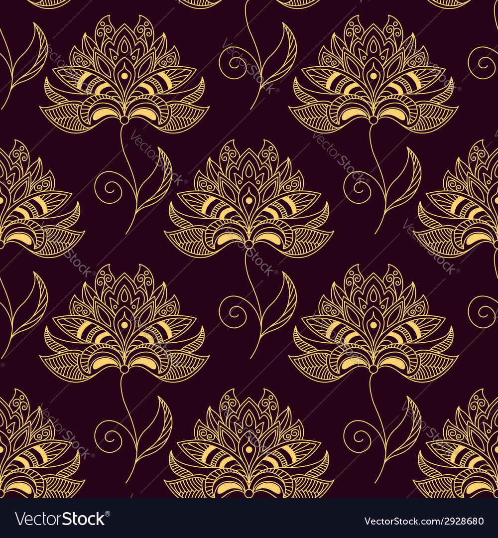 Yellow on purple paisley seamless floral pattern vector | Price: 1 Credit (USD $1)