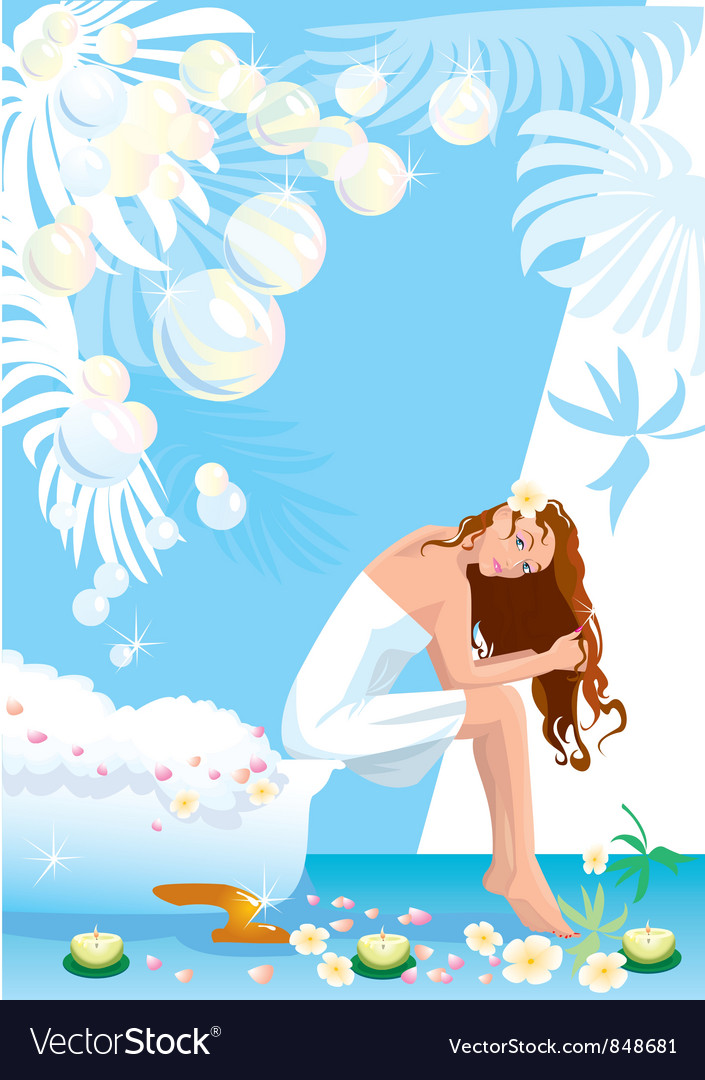 Beautiful woman in spa center vector   Price: 3 Credit (USD $3)