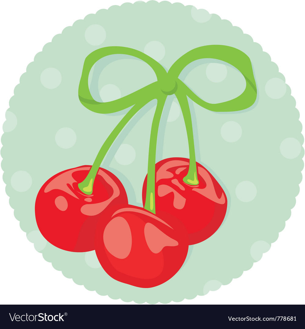 Cherries wrapped with ribbon vector | Price: 1 Credit (USD $1)
