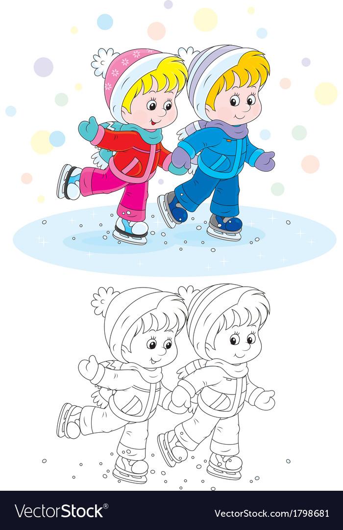 Children skating vector | Price: 1 Credit (USD $1)