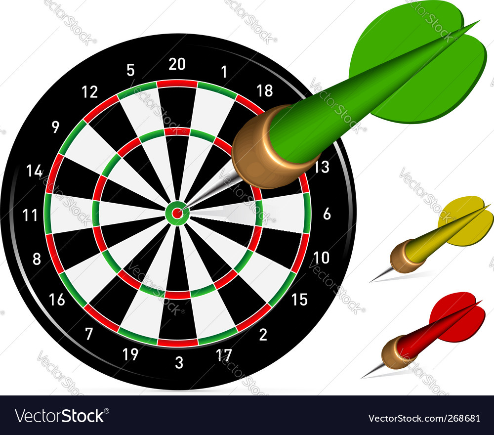 Dartboard with darts vector | Price: 1 Credit (USD $1)