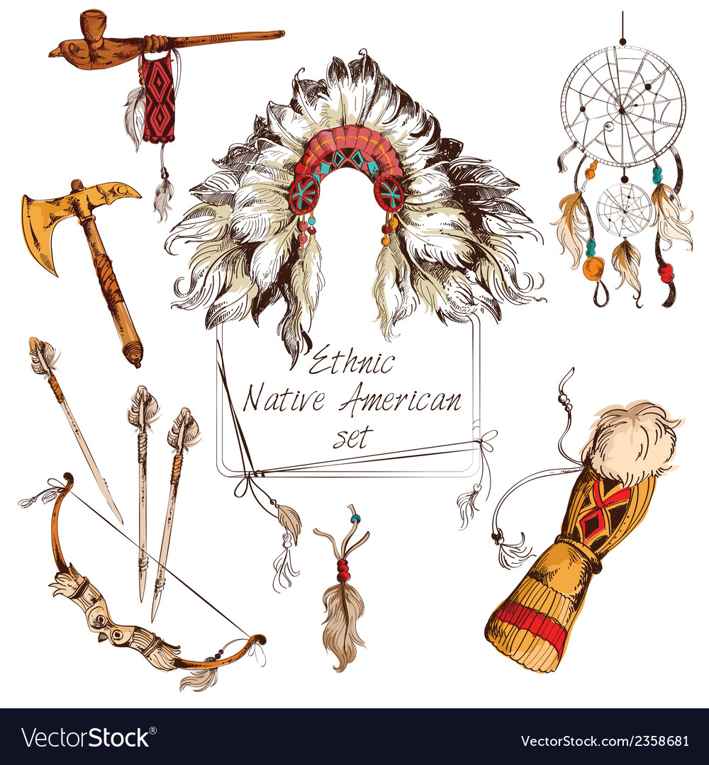 Ethnic native american set colored vector | Price: 1 Credit (USD $1)