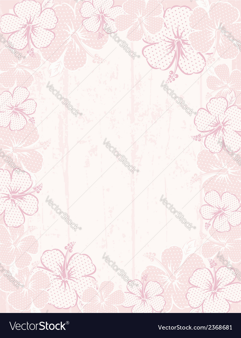 Frame of hibiscus on pink background vector | Price: 1 Credit (USD $1)
