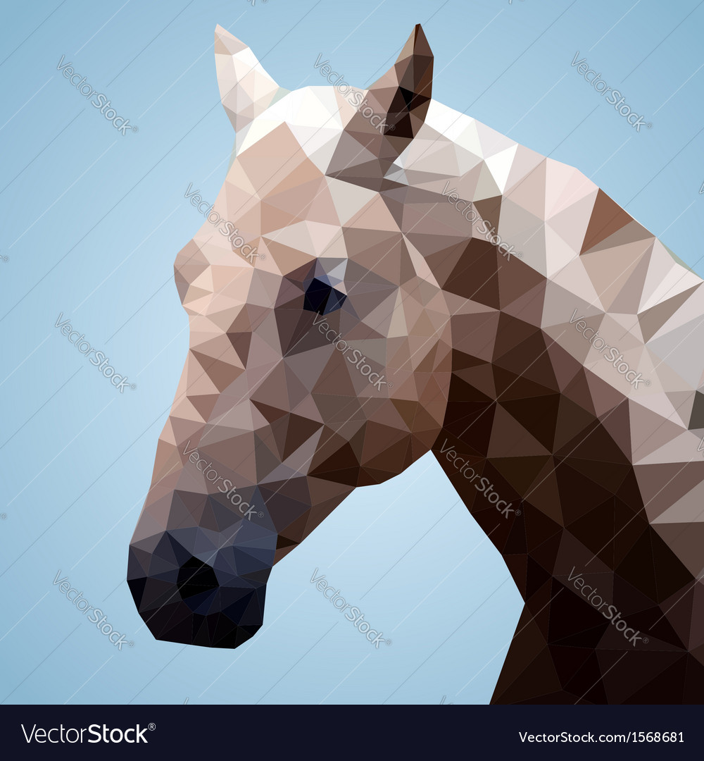 Head of a bay horse in triangular style vector   Price: 1 Credit (USD $1)
