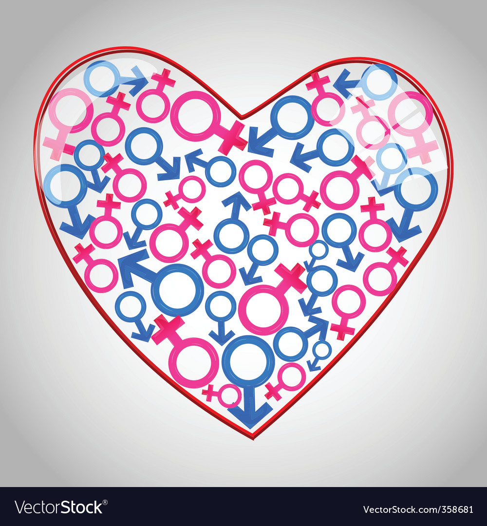 Heart with male female icons vector | Price: 1 Credit (USD $1)