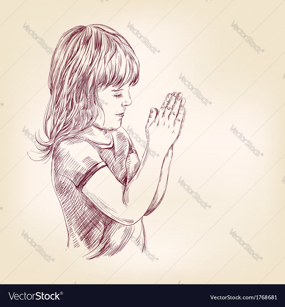 Little girl praying hand drawn llustration vector | Price: 1 Credit (USD $1)