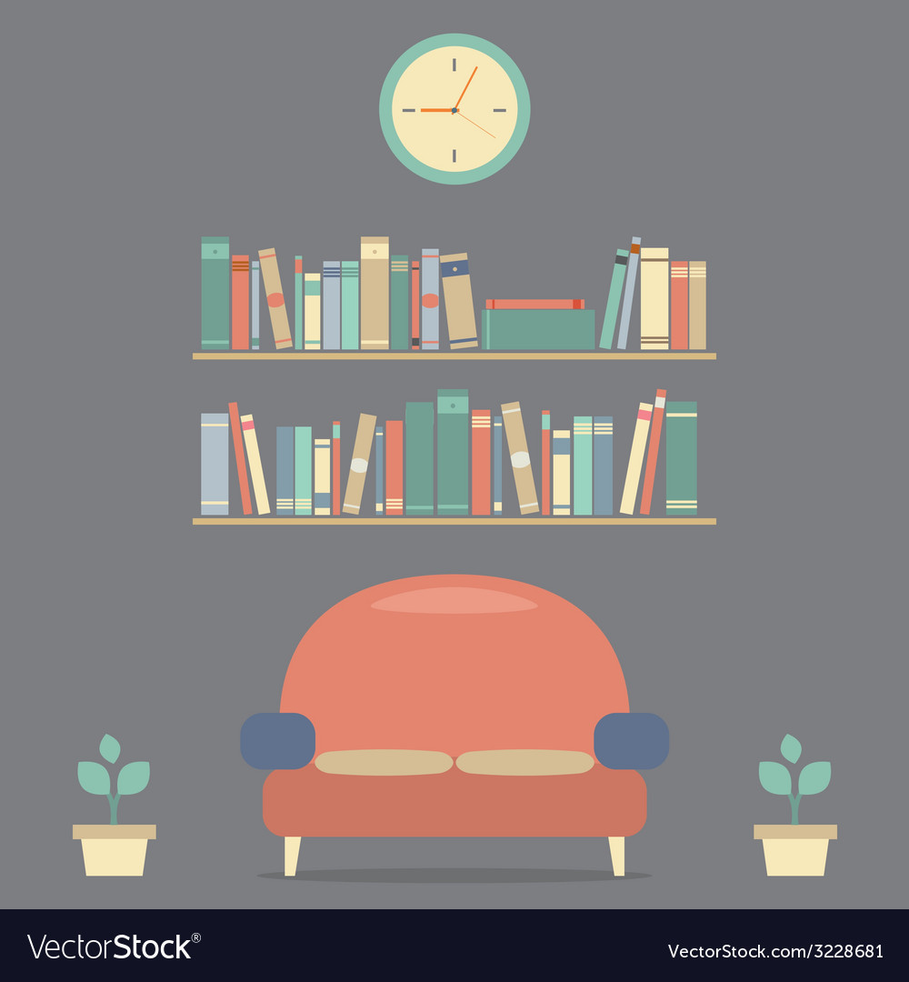 Modern design interior sofa and bookshelves vector | Price: 1 Credit (USD $1)