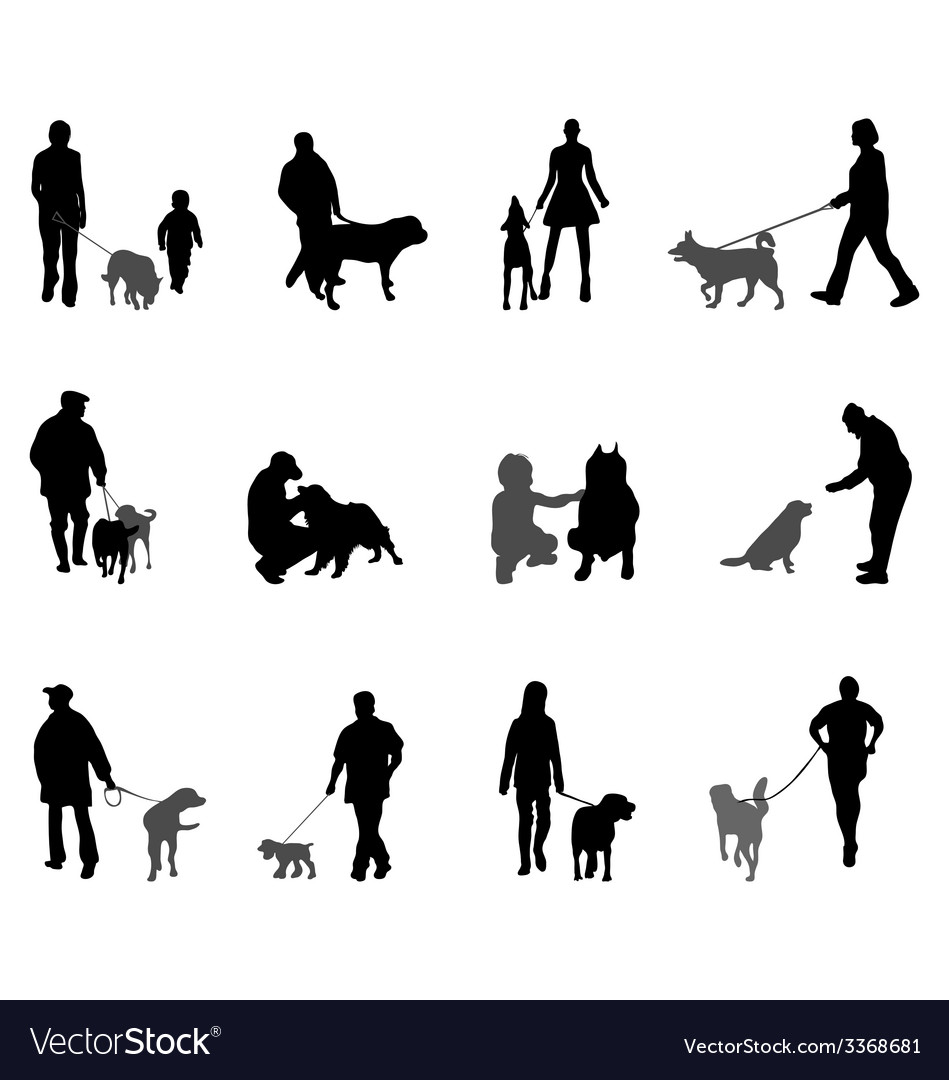 People and dogs vector | Price: 1 Credit (USD $1)