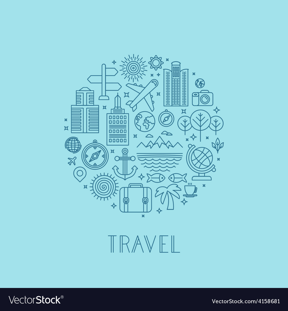 Travel logos and icons in outline style vector | Price: 1 Credit (USD $1)