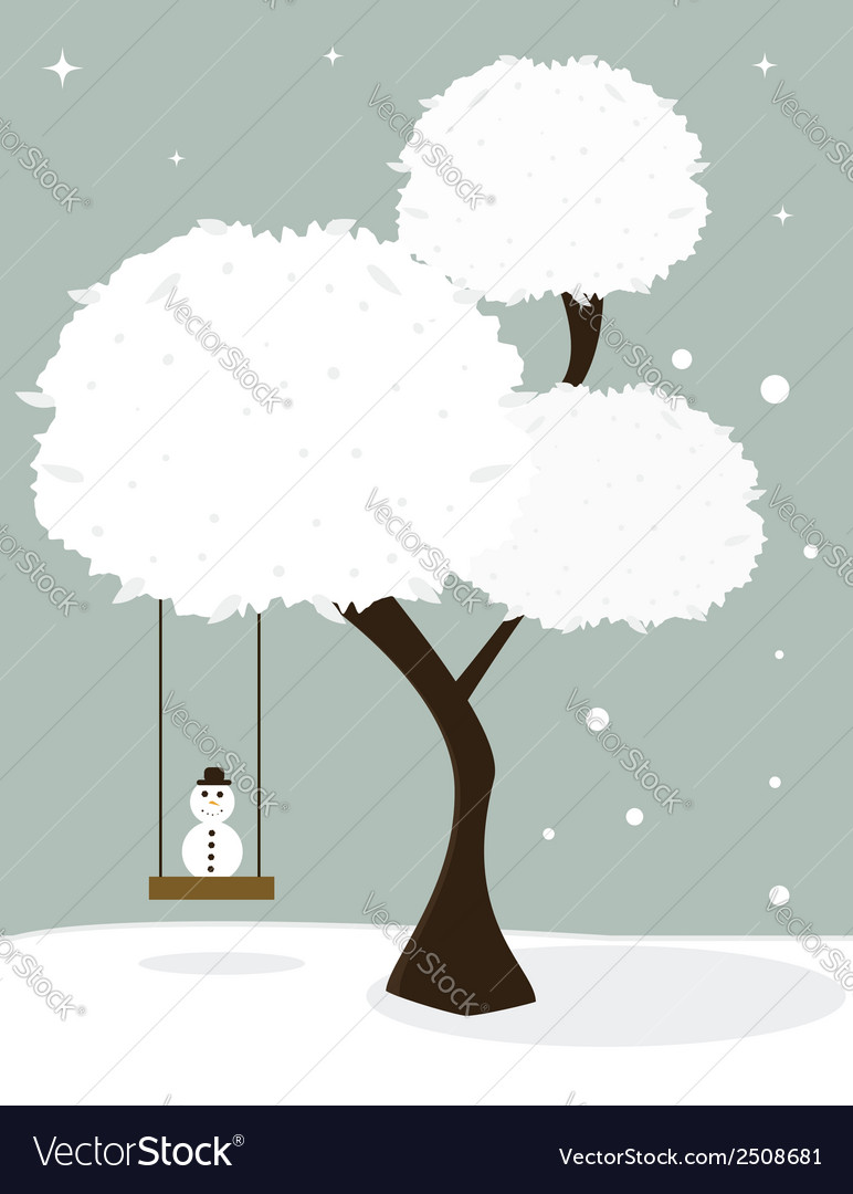 Winter tree with little snowman vector | Price: 1 Credit (USD $1)