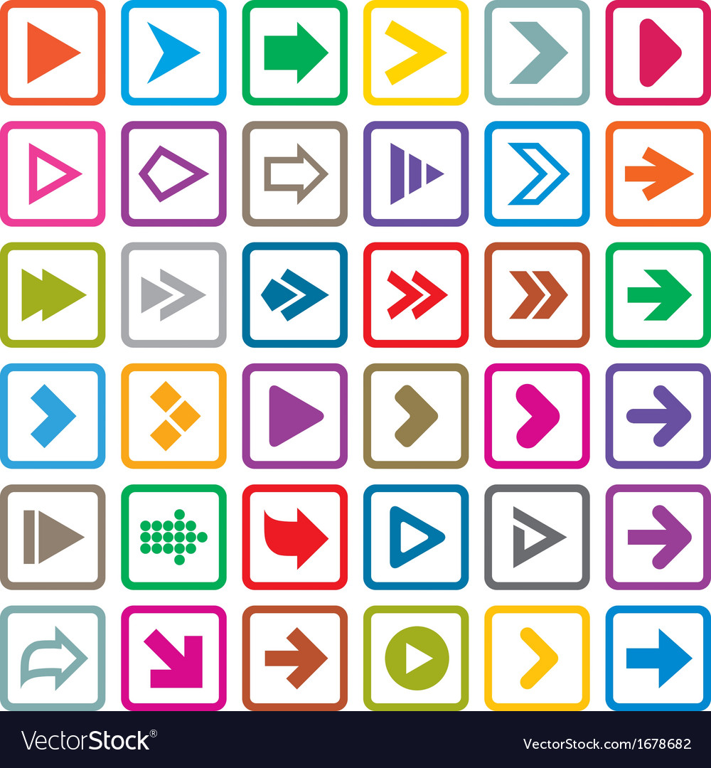 Arrow sign icon set internet buttons on white vector | Price: 1 Credit (USD $1)